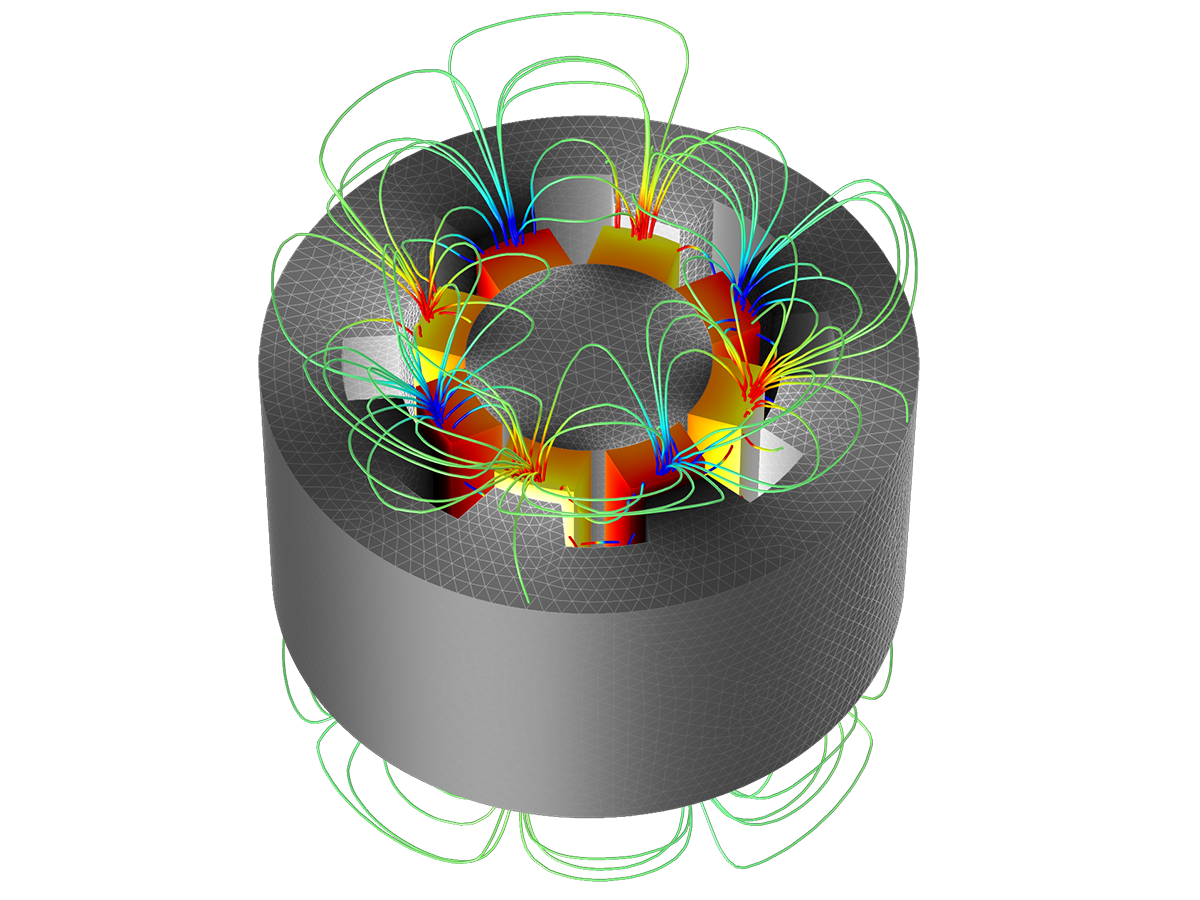 MOTOR/GENERATOR: These results show a 3D static analysis of the magnetic fields around a rotor and stator. Permanent magnets and nonlinear magnetic materials are included, and material nonlinearity is modeled via an interpolation function.