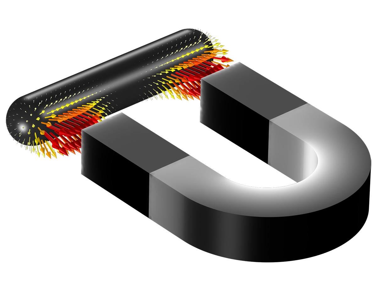 PERMANENT MAGNET: This introductory example for magnetic field modeling describes a typical horseshoe magnet and iron bar, where the Symmetry condition is used to reduce the problem size. The magnetic fields and forces are computed.