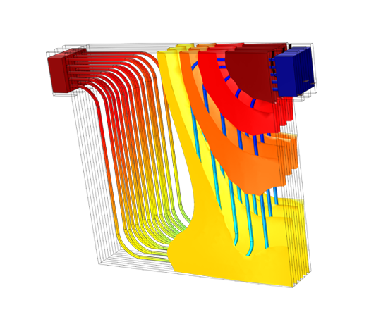 Temperature field in a lithium-ion battery pack for automotive applications. Shown here are the temperature isosurfaces and temperature profile on the fluid flow in the cooling channels.