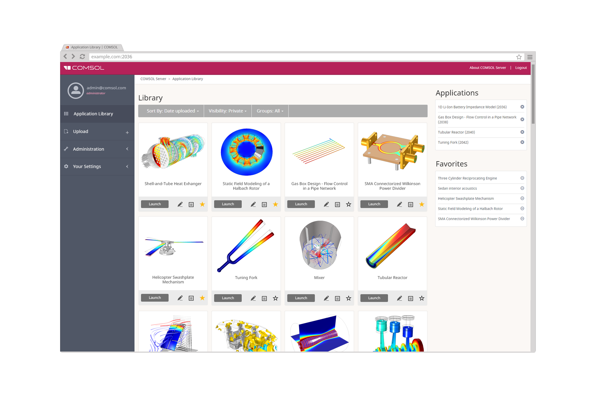 The dashboard and Application Library in the COMSOL Server™ web interface. From the app icon, you can launch an application, make it one of your favorites, and edit permissions. The dashboard also lets you view the apps that are already running as well as monitor CPU and memory usage.