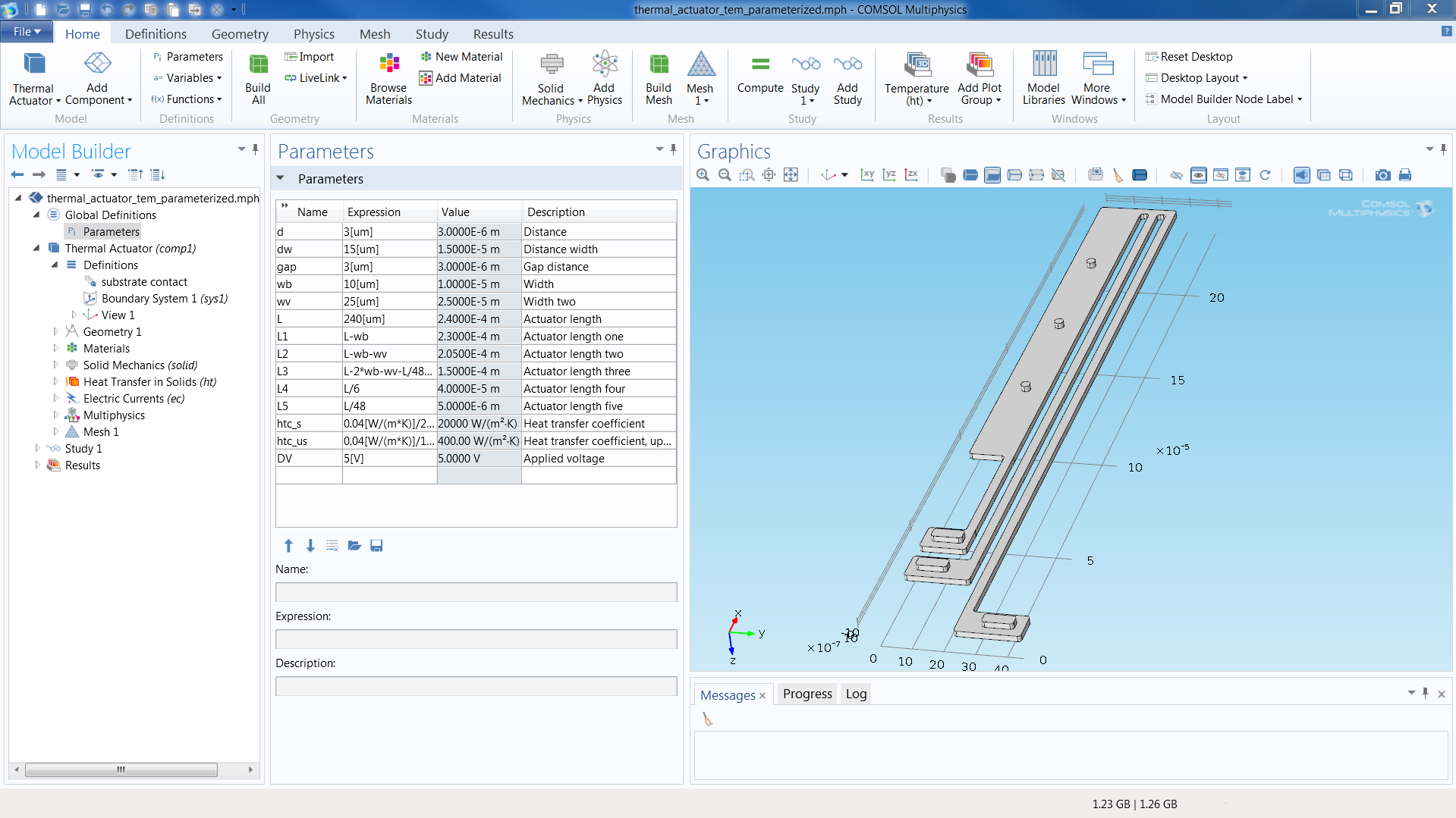 Geometry Modeling: COMSOL Multiphysics includes a geometry modeling engine that allows for parametric models in 1D, 2D, and 3D. More advanced geometry modeling is available with the CAD Import Module and the LiveLink products for CAD.