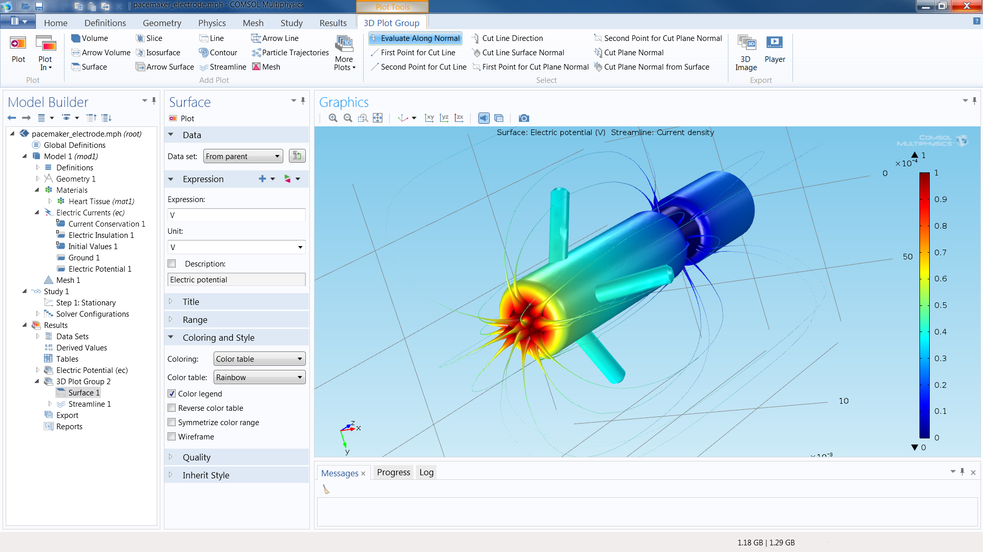 COMSOL Desktop®: An electrical simulation of a pacemaker electrode with computed voltage and current distribution.