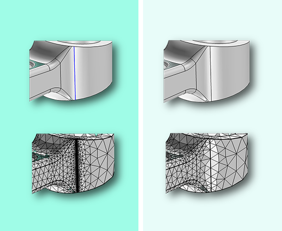 By removing a sliver, the required meshing is significantly reduced, while the defeaturing action smooths the surrounding geometry to fill the gap.
