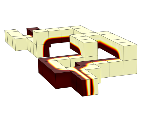 SPLIT AND RECOMBINE MIXER BENCHMARK: This example models a split and recombine mixer channel in which a tracer fluid is introduced and mixed by multi-lamination. Diffusion is removed from the model using an extremely low diffusion coefficient so that any numerical diffusion can be studied in the lamination interfaces. The results compare well with the referenced publication in both the lamination patterns and total pressure drop across the mixer.