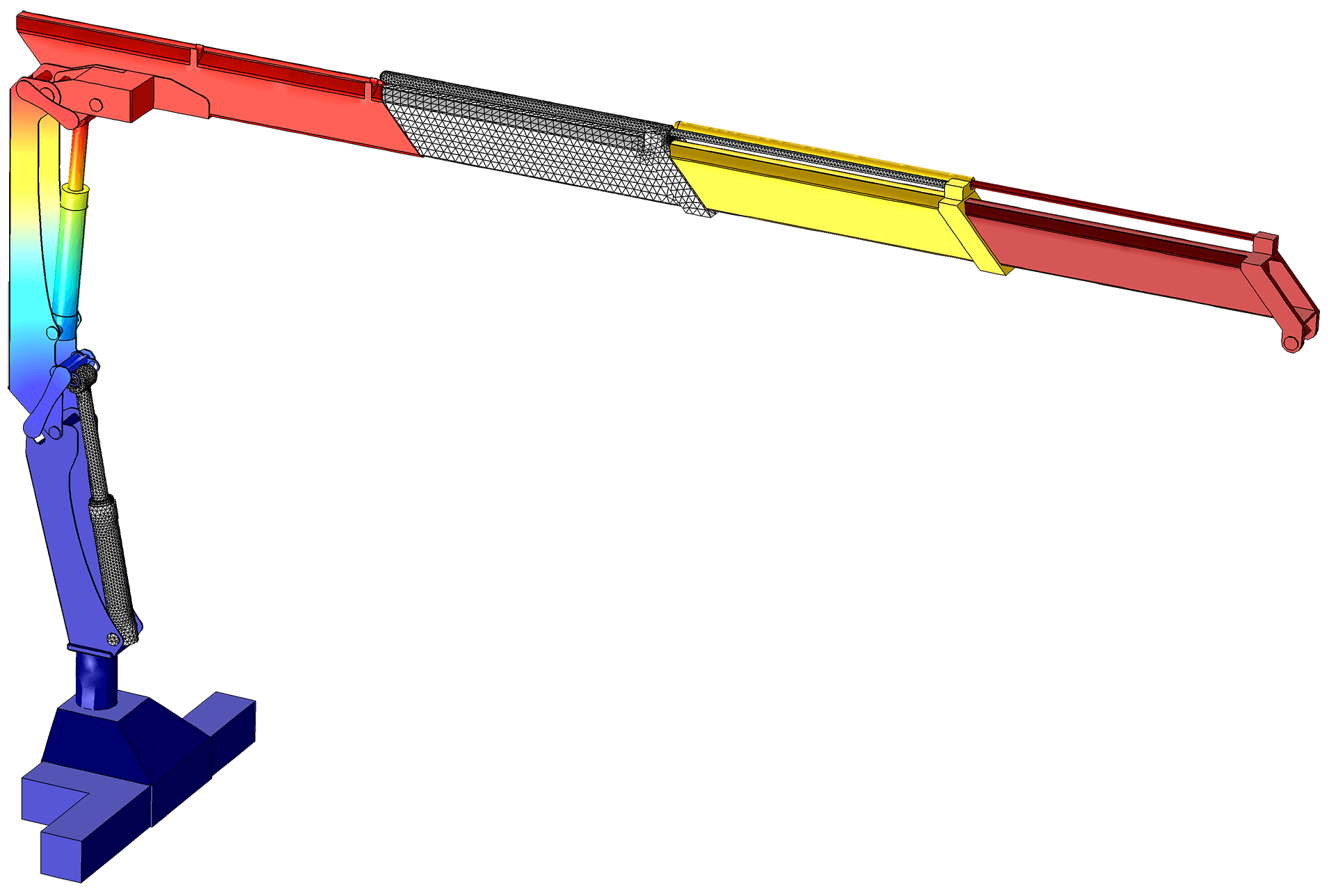 Model of a truck crane used for handling large loads. The simulation analyzes rigid body movement and predicts forces on the crane's axles and hydraulic cylinders. Results are used to optimize the position of link mechanisms in the base.