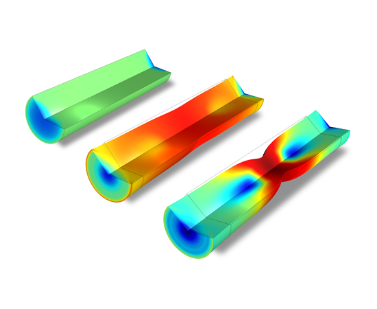 A circular bar is subjected to a uniaxial tensile test, resulting in large deformations. The bar experiences large-scale necking and plastic deformation across its central cross-sectional region.