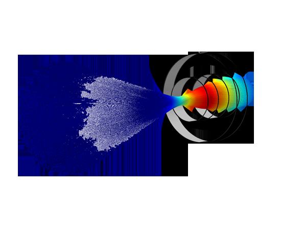 通過高能電子束掃描目標獲得掃描電子顯微鏡樣品圖像。 隨後的電子相互作用產生二次電子和背景散射電子等信號,這些信號包含關於樣品表面形貌的信息。 電磁透鏡將該電子束聚焦到樣品表面上大約10 納米寬的一個點上。 該模型需要粒子追踪模塊和AC/DC 模塊。