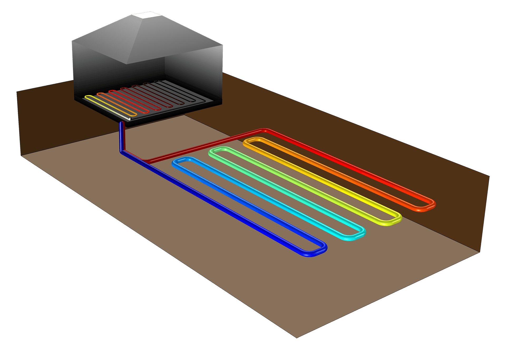 Ground heat recovery is an energy efficient method to supply houses with heat, where heat collectors exist in a subsurface environment. This model compares different patterns embedded in the subsurface with typical thermal properties of an uppermost soil layer in a garden.