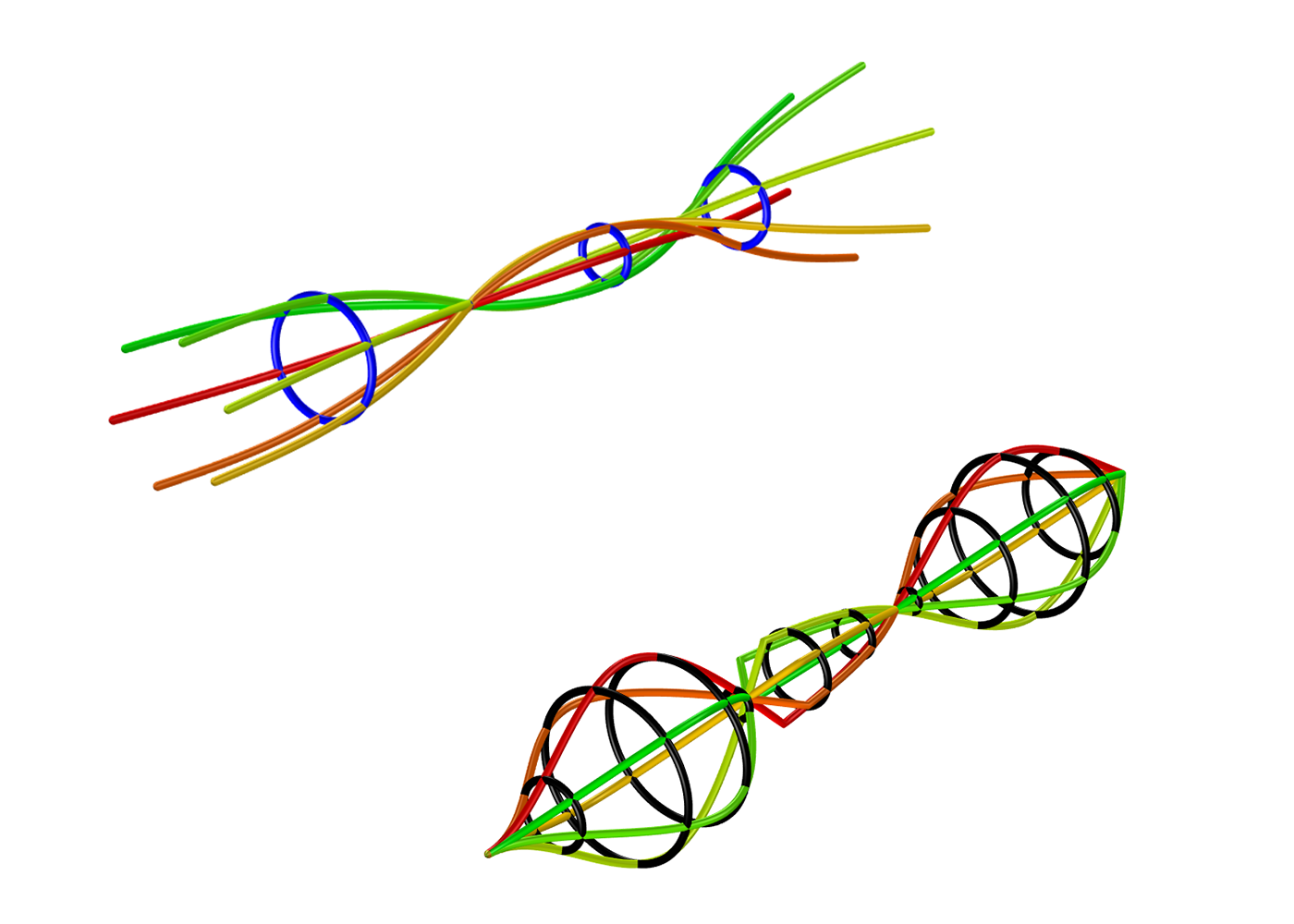 Whirl plots are used in the analyses of rotating machine rotors that are simulated using beam elements. The path traveled by the components, such as bearings and disks, can also be included in such plots.