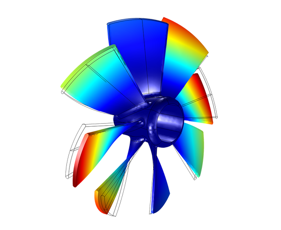 An eigenfrequency analysis of an impeller is achieved through performing the simulation on just one of the blades and using in-built periodic boundary conditions.