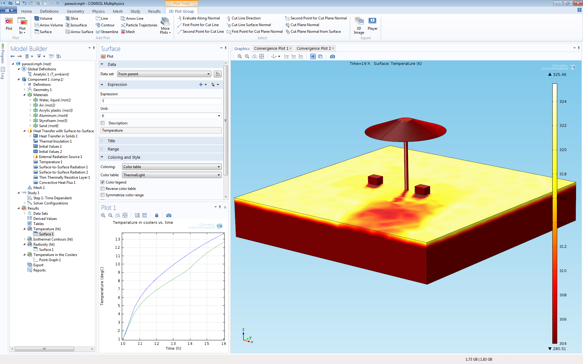Comsol multiphysics release highlights version 44 a tutorial model consisting of coolers next to a beach umbrella where the temperature is computed and the effect of sun irradiation from 10am to 4pm is baditri Images