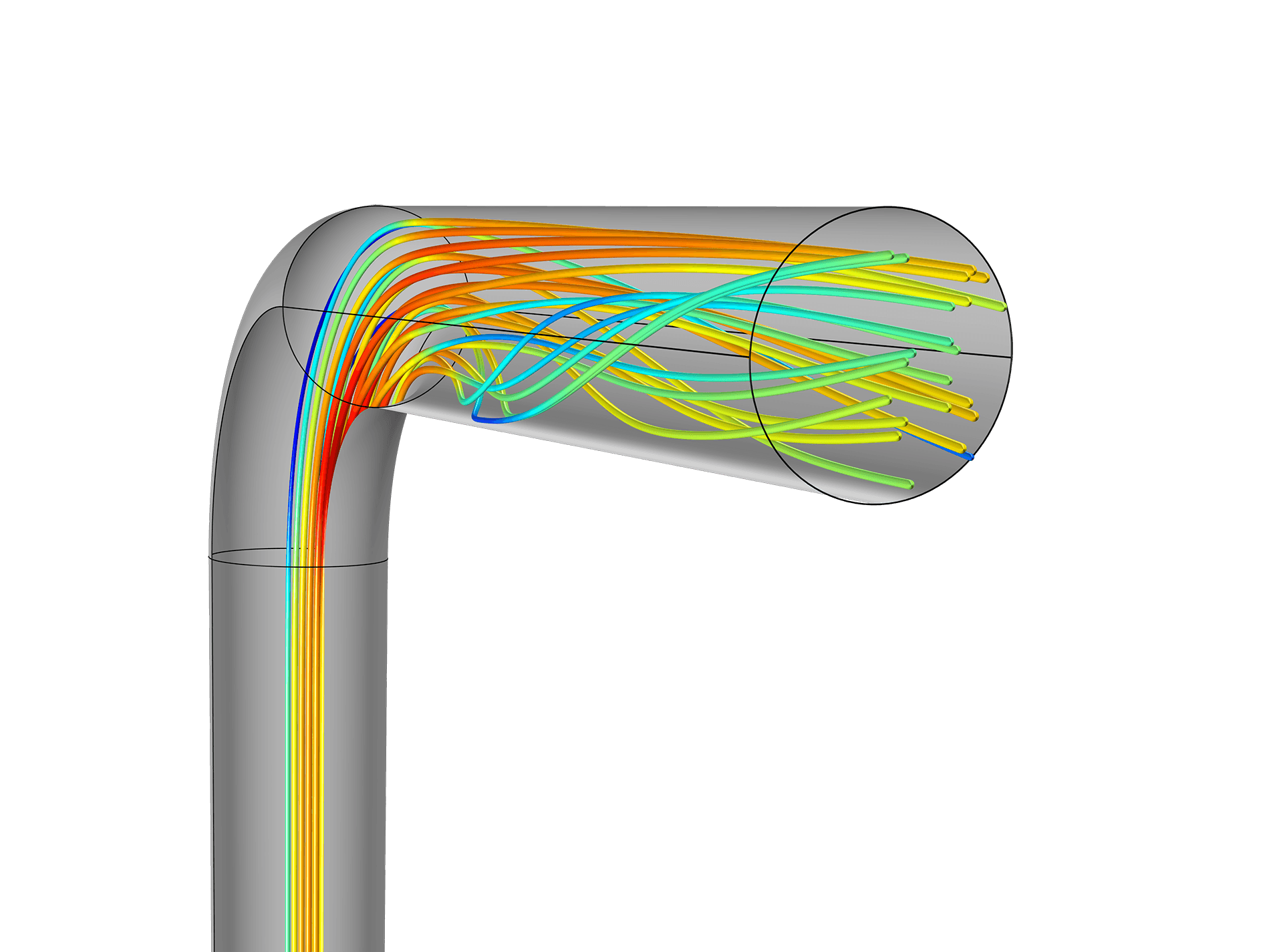 Comsol Version 50 Release Highlights Pin Wiring Two 3 Way Motion Detector Switches On Pinterest Turbulent Flow Simulation Of In A Piping System Results Show Separation Zone After The Bend Vortices Outlet Section