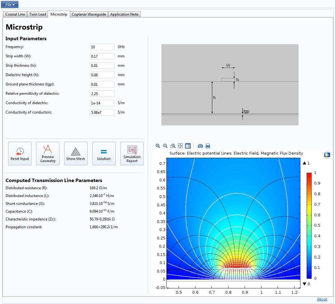Ac Dc Module Comsol 51 Release Highlights Electric Circuits Tutorial A Transmission Line App That Calculates R L G And C As Well The Characteristic Impedance Propagation Constant For Coaxial Twin Lead Microstrip