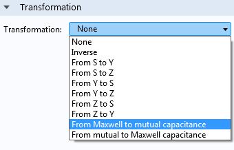 用於在電容矩陣的兩種常見格式之間轉換的新選項。