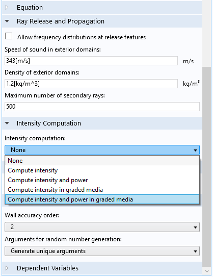 The new ray power computational option for Ray Acoustics; the Settings window where the options for Intensity computation can be selected.