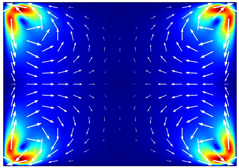The acoustic streaming flow inside the microchannel cross section.