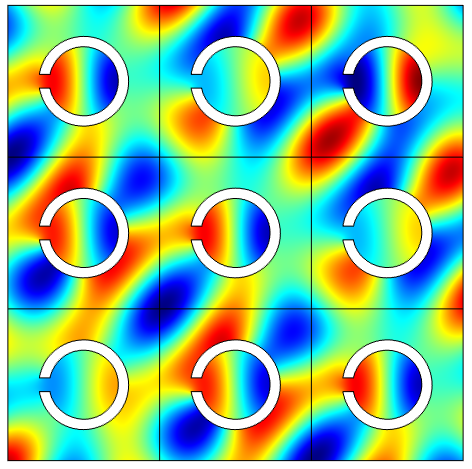 Periodic pressure field inside the sonic crystal structure. The periodicity is enforced using the built-in Floquet (also known as Bloch) periodic conditions.