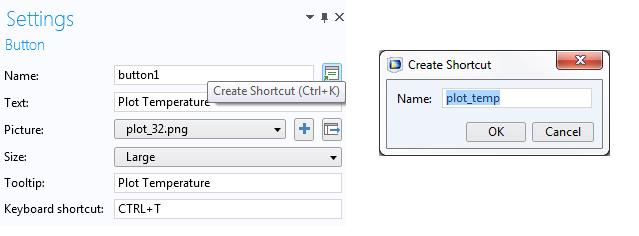 已向按鈕表單對象添加了快捷方式。