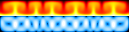 Temperature (top) and velocity magnitude (bottom) for convection between parallel plates heated from below, simulated using the Boussinesq approximation.