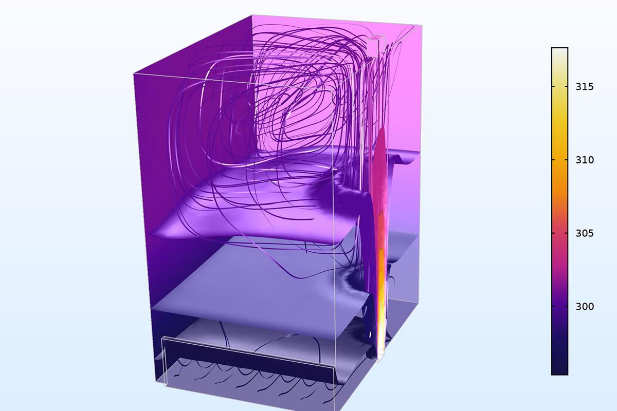 """使用新選項""""弱可壓縮流""""求解的置換通風基準問題。 繪圖顯示了等值面、表面以及速度場流線上的溫度(K)。"""