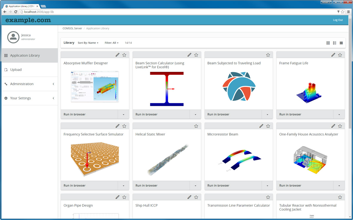The COMSOL Server™ Application Library page with a branded theme.
