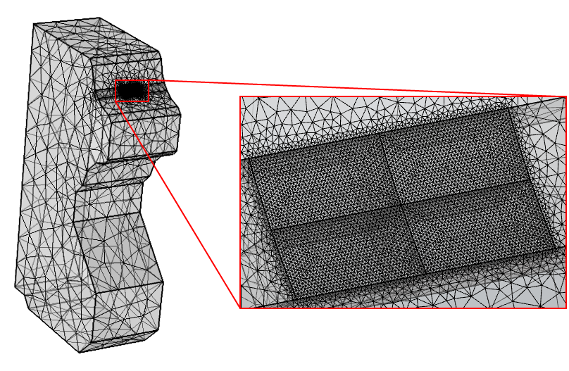 Mesh used in a simulation of a linear guide subjected to rolling contact fatigue.