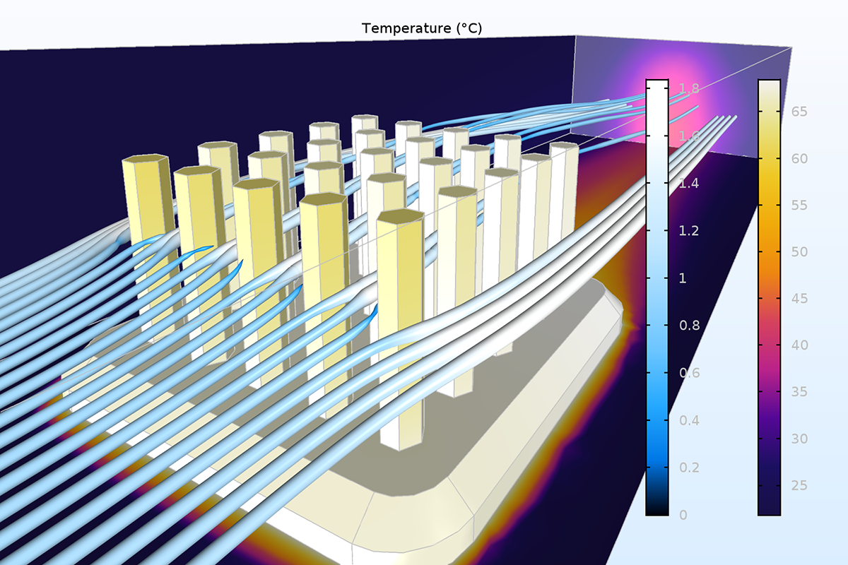 Results from an air cooling simulation where the pressure dependency of the air has been neglected. The plot shows the temperature field (Heat Camera) and the streamlines of the fluid flow (Jupiter Aurora Borealis) where the thickness of the streamlines is proportional to the magnitude of the velocity.