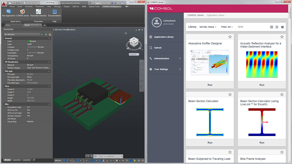 The COMSOL Multiphysics® tab in the AutoCAD® user interface (left) and the COMSOL Server™ interface, which is launched in a separate browser (right).