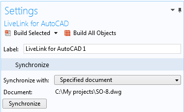 The Settings window for the Synchronize with Specified document feature for LiveLink™ for AutoCAD® indicates that it has been synchronized with the file C:\My projects\SO-8.dwg. The LiveLink™ interface will automatically switch to this file in AutoCAD® during future synchronizations.