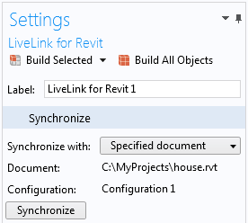 The Settings window for the Synchronize with Specified document feature for LiveLink™ for Revit® feature indicates that it has been synchronized with the file C:\MyProjects\house.rvt. The LiveLink™ interface will automatically switch to this file in Revit® during future synchronizations.