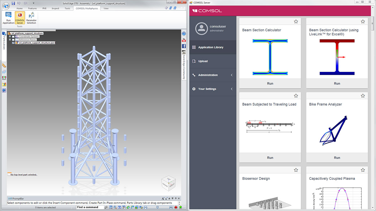 Solid Edge® 用戶界面中的COMSOL Multiphysics® 選項卡(左圖)以及在一個瀏覽器中啟動的COMSOL Server™ 界面(右圖)。