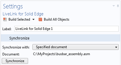 The Settings window for the Synchronize with Specified document feature for LiveLink™ for Solid Edge® feature indicates that it has been synchronized with the file C:\MyProjects\busbar_assembly.asm. The LiveLink™ interface will automatically switch to this file in Solid Edge® during future synchronizations.