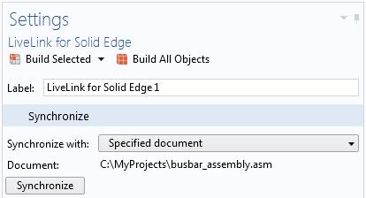 "LiveLink™ for Solid Edge® 功能的""與指定文檔同步""中的""設置""窗口表明,它已與C:\MyProjects\busbar_assembly.asm 文件同步。 LiveLink™ 接口在以後的同步過程中會自動切換到Solid Edge® 中的該文件。"