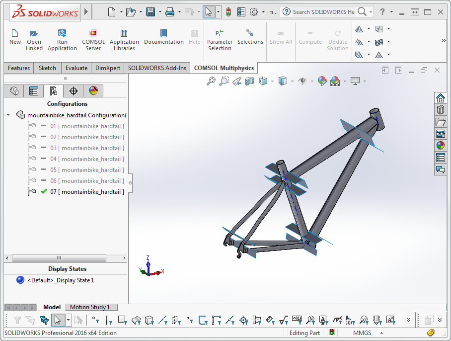 This bike design in SOLIDWORKS® has several configurations and one display state. After synchronization, the configuration and display state are shown in the Settings window for the LiveLink™ for SOLIDWORKS® node. During future updates, the interface will automatically synchronize the first synchronized configuration , even if another configuration is active in SOLIDWORKS®.
