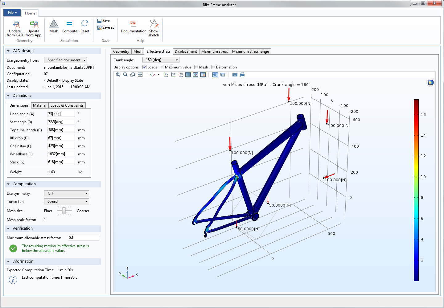 The user interface of the Bike Frame Analyzer app showing the effective stress on the frame with a 180-degree crank angle. NOTE: In order to run this app, you need both LiveLink™ for SOLIDWORKS® and the Structural Mechanics Module.