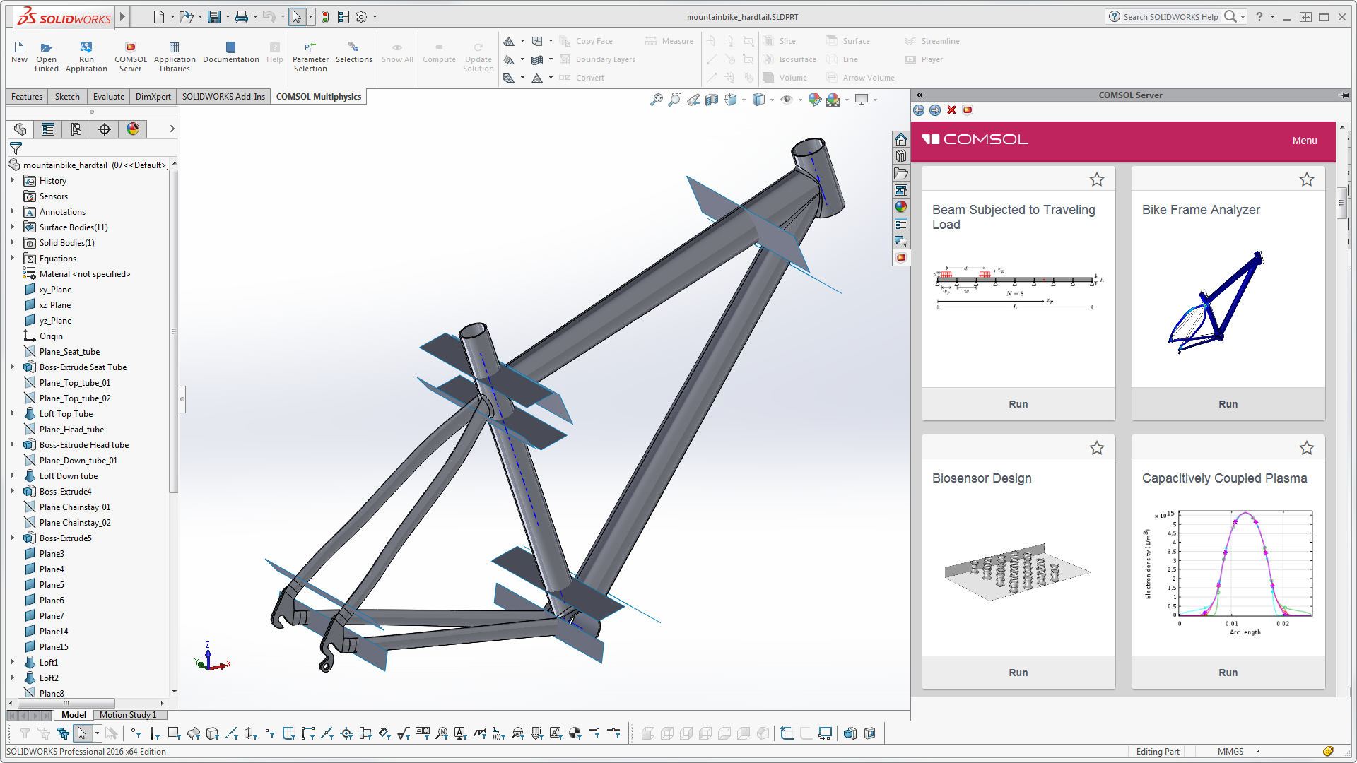 The COMSOL Multiphysics® ribbon tab and embedded COMSOL Server™ interface in the SOLIDWORKS® user interface.