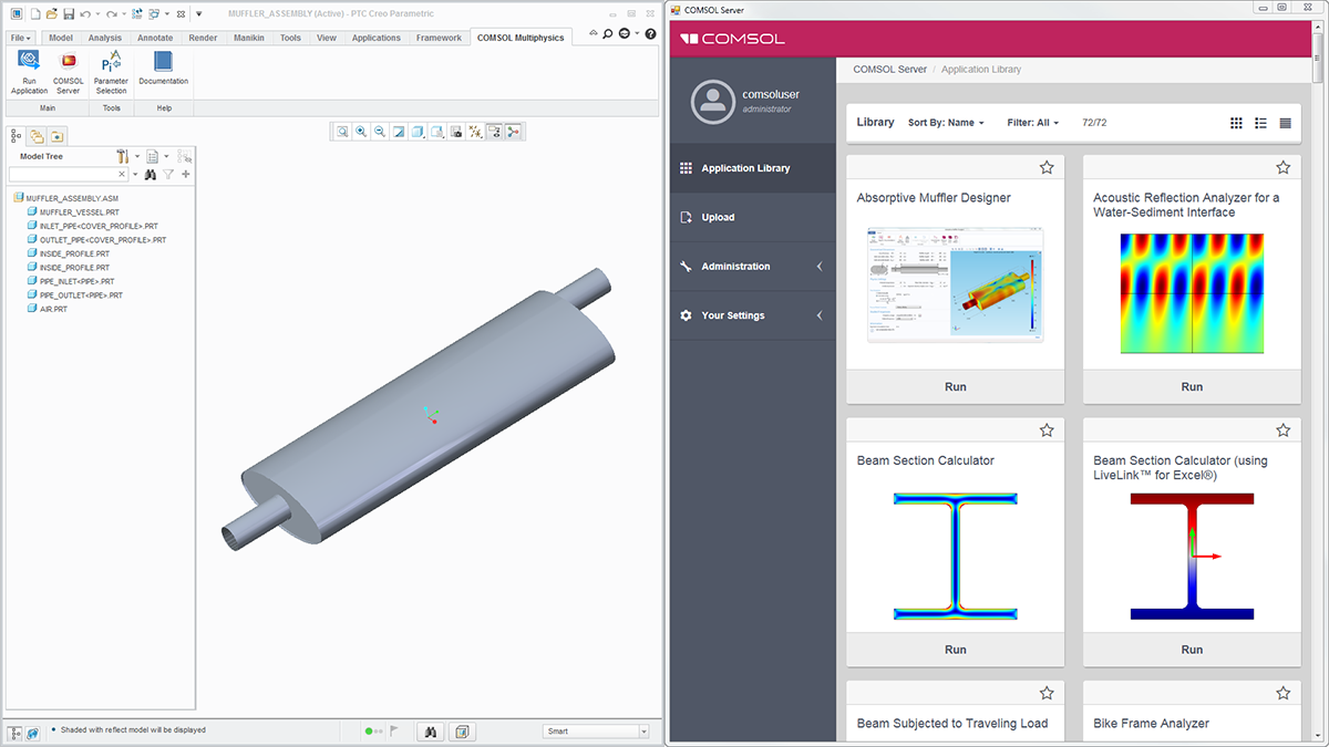 The COMSOL Multiphysics® tab in the PTC® Creo® Parametric™ user interface (left) and the COMSOL Server™ interface, which is launched in a separate browser (right).