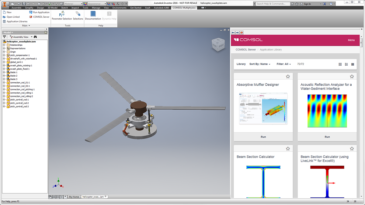 The COMSOL Multiphysics® ribbon tab in the Inventor® user interface as well as an embedded interface of COMSOL Server™.