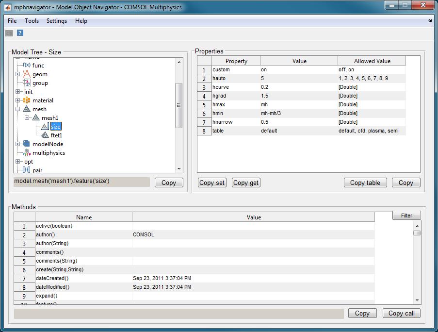上圖中的mphnavigator 函數顯示了母線板模型的網格設置。 請注意,Copy set 和Copy get 按鈕可以將set 語句和get 語句複製到剪貼板以便在腳本和命令行中使用。