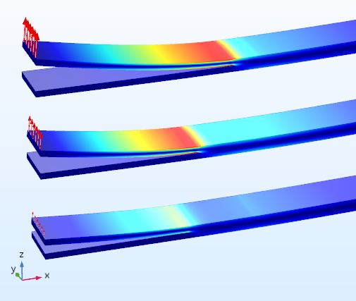 Decohesion of a laminate, from the Mixed-Mode Debonding of a Laminated Composite tutorial model in the Application Library.