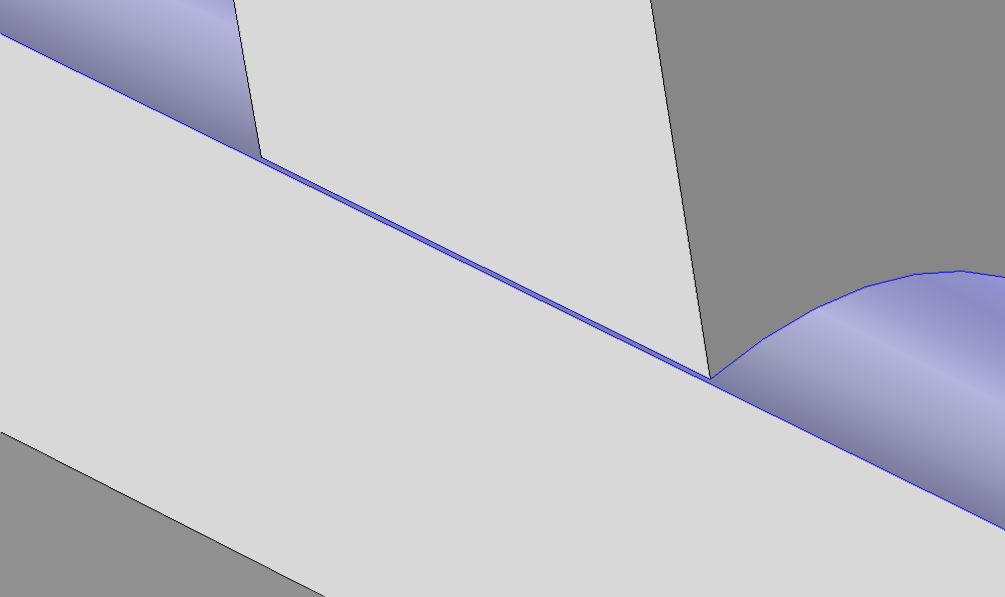 The original geometry, with the face (shown in blue) containing a narrow region.