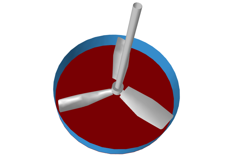 Lower (red) and side (blue) control surfaces for a hydrofoil impeller.