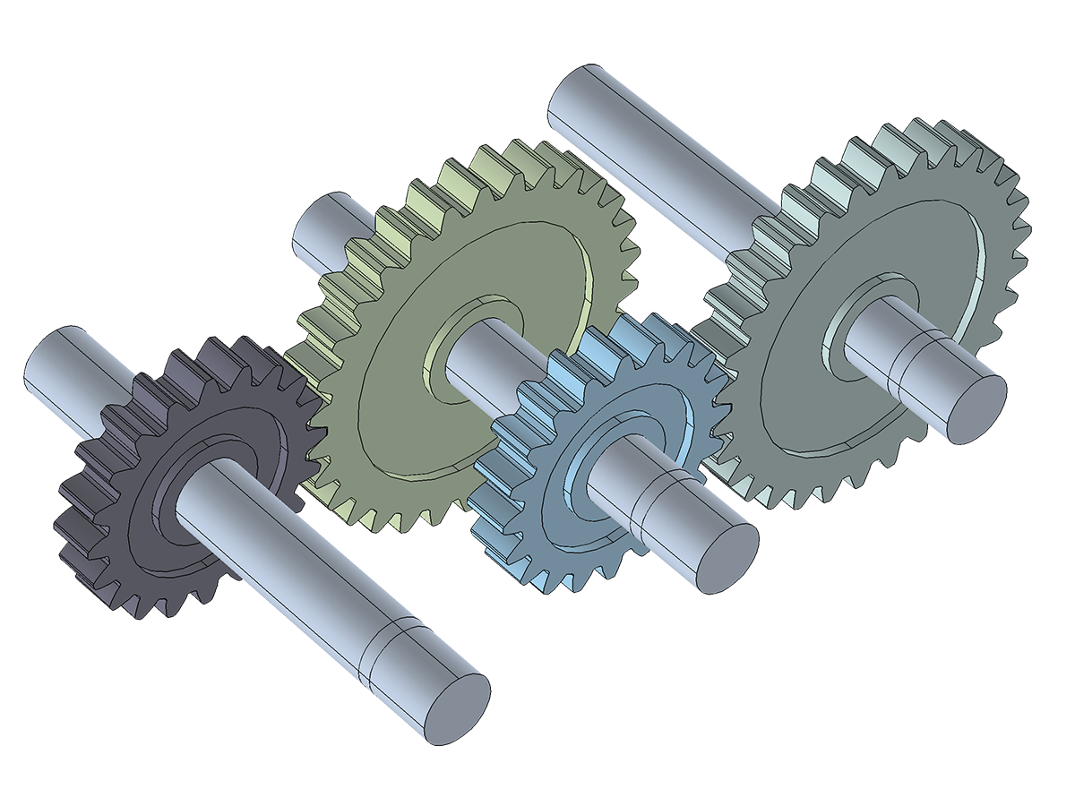 A compound gear train, modeled using the new Gears functionality in the Multibody Dynamics interface.