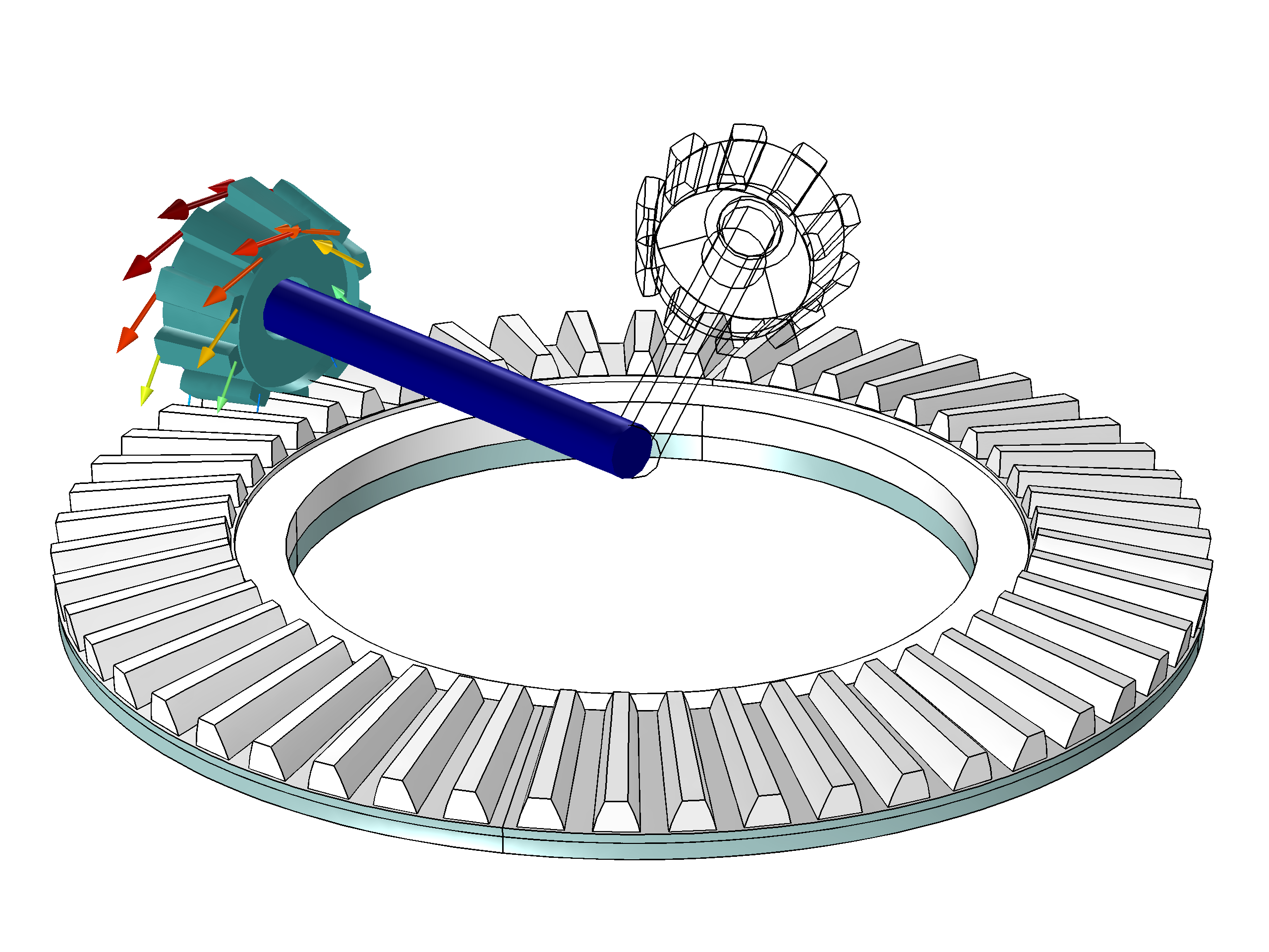 The motion of a bevel gear when an incremental rotation is prescribed to the rigid bar.