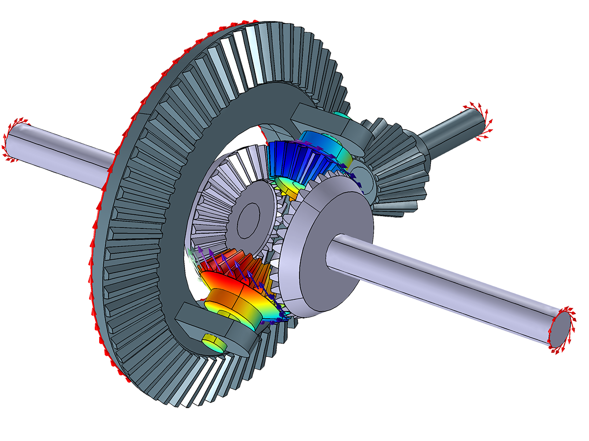 A differential gear mechanism, allowing the two axles of the vehicle to rotate at different speeds. The magnitude of the speeds and direction of the rotations are shown.