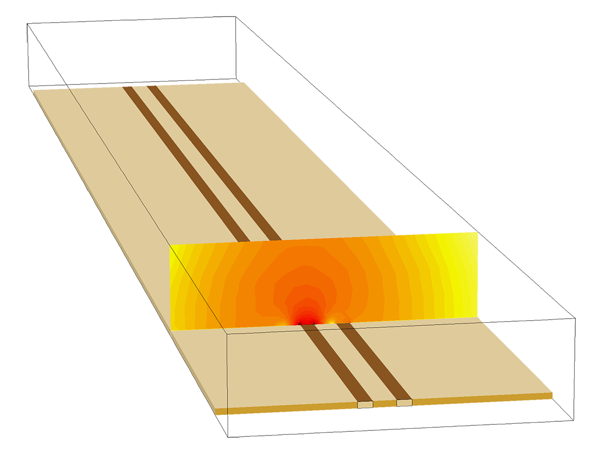 A microstrip line crosstalk model is composed of a microwave substrate, with a ground plane and two adjacent microstrip lines. The contour plot of the logarithmic norm of electric field shows the coupling of the electric field between the two microstrip lines.