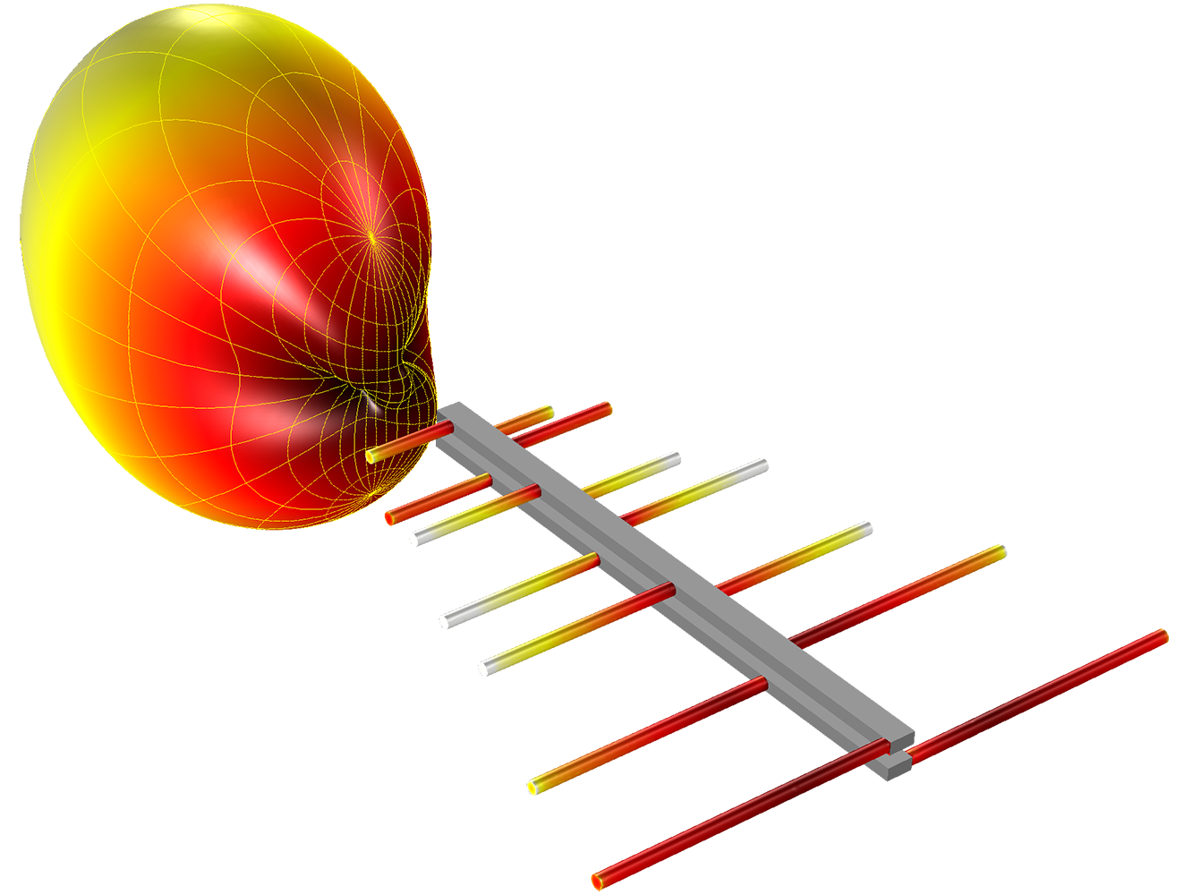 A log-periodic antenna is modeled by fitting a coplanar dipole array through two metallic body frames. The far-field radiation pattern and the norm of electric field on a coplanar dipole array are visualized.