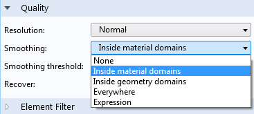 The new Inside material domains option for smoothing.