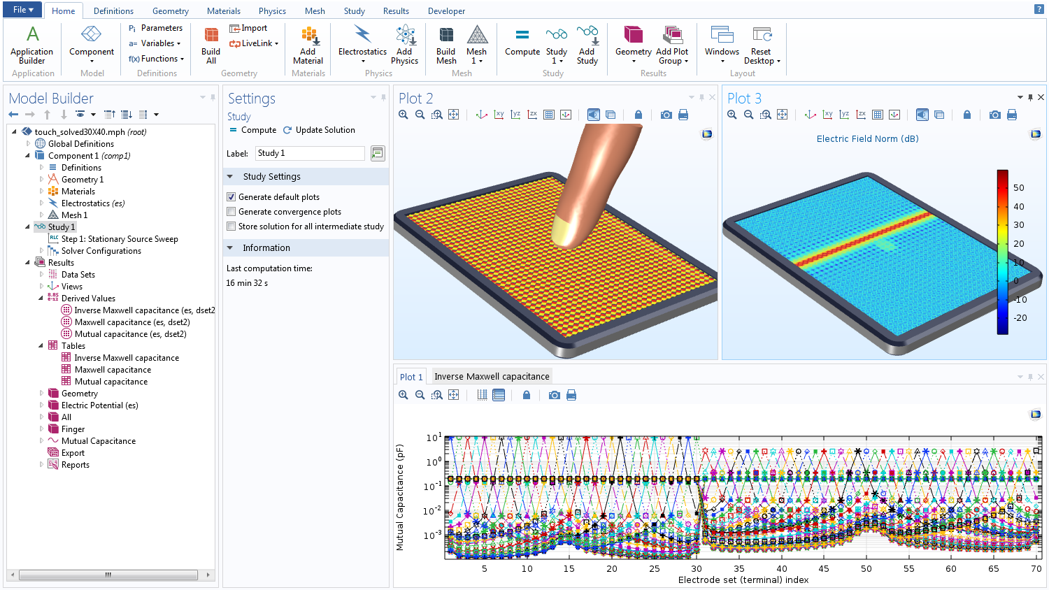 A screenshot of the COMSOL software GUI showing the underlying model of the Touchscreen Simulator app.