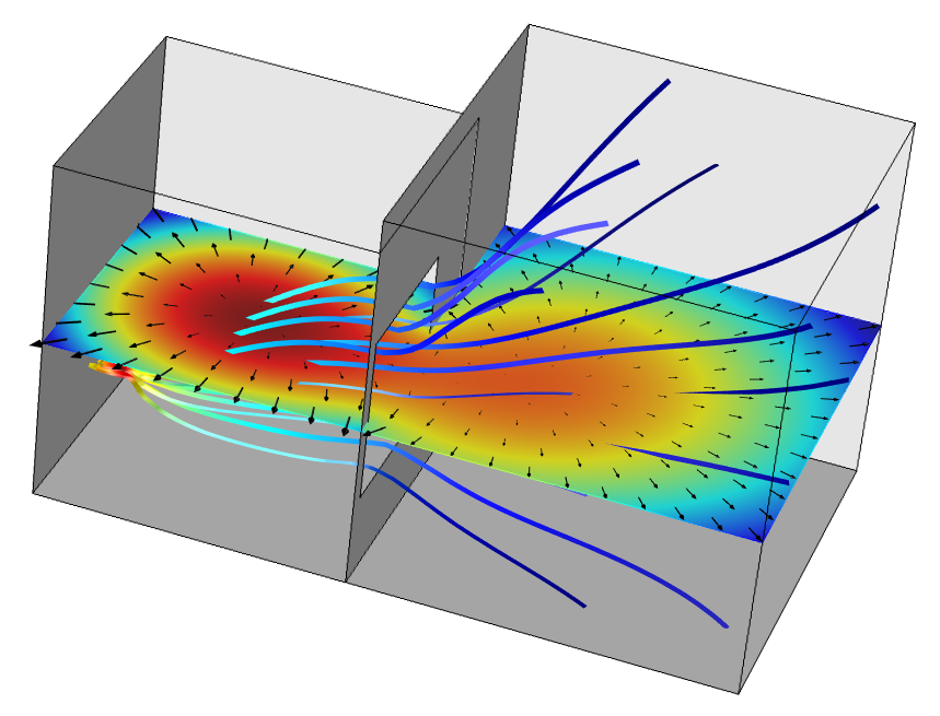 An example model using the Acoustic Diffusion Equation interface in the Acoustics Module.